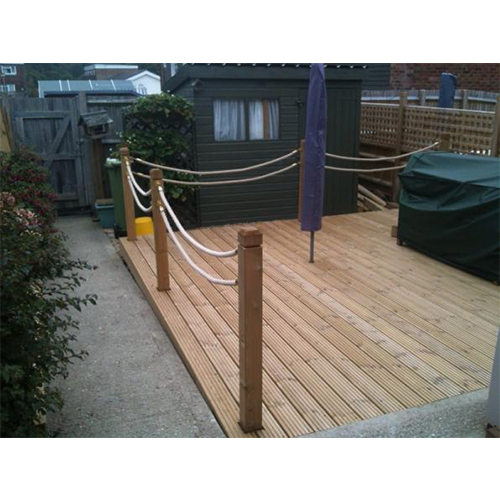 Grooved or smooth Wooden Decking with Hemp rope balustrade.