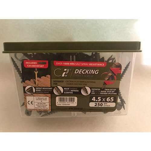 C2 Decking Screws in Green with T20 driver bit included