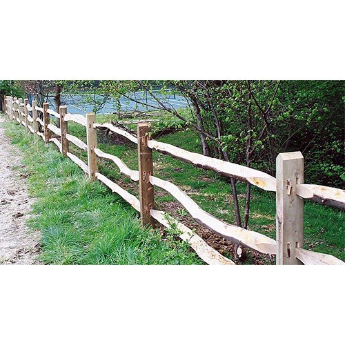 Square softwood posts and Cleft rail