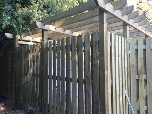Bin Store with overhead Pergola by DK Fencing