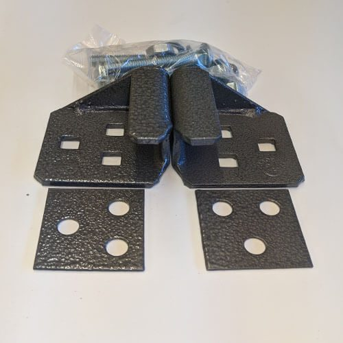 Heavy Padlock Protector Clasp for pairs of gates or garage doors.