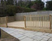 Wooden decking with balustrade