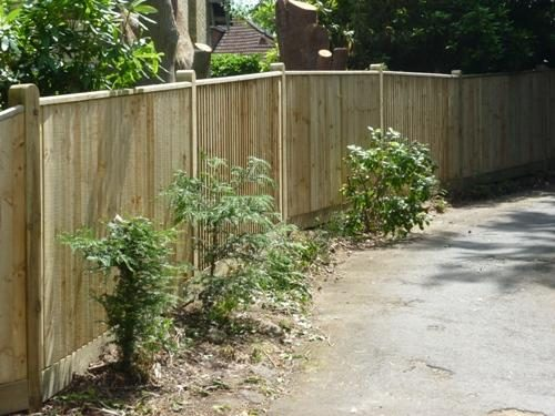 Close Board fence with round top posts and capping