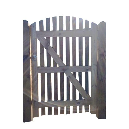 Close Space Round Top Palisade Gates, framed, ledged and braced
