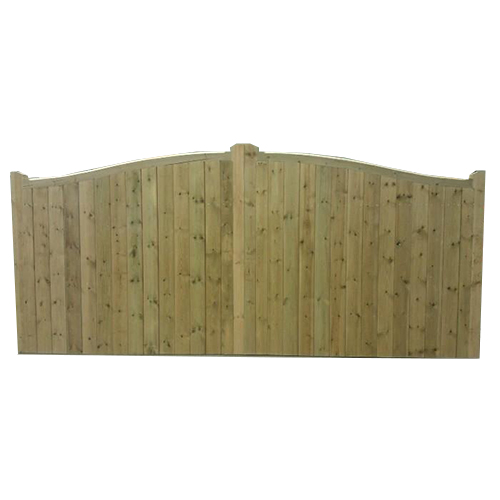 Front view of Crestala's hand made Hartfield swish top, tongue and groove softwood entrance Gates with solid top rail