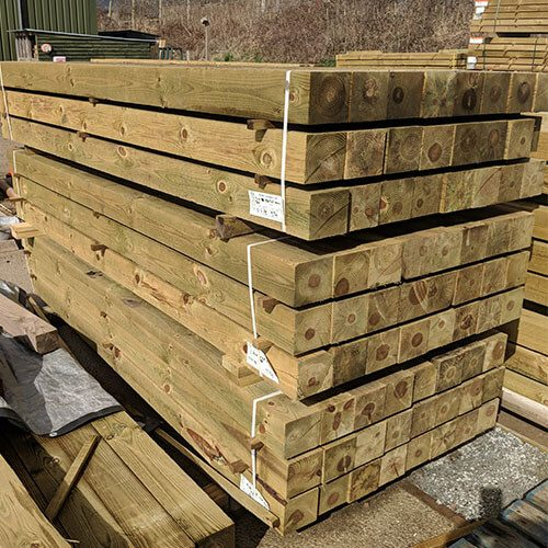 Packs of treated Square Softwood Posts
