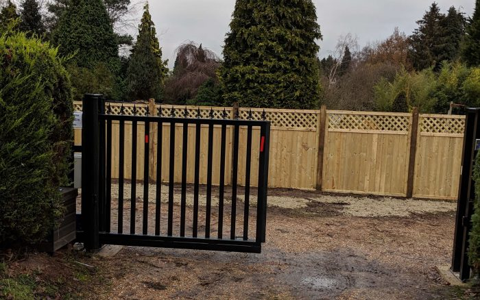 Tongue & Groove Lattice top panels being used as a screen behind automated gates.