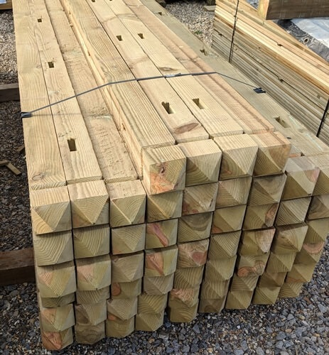 "Four way weathered (pyramid top) posts with a ""V"" router line, mortised for Closeboard or Palisade fencing."