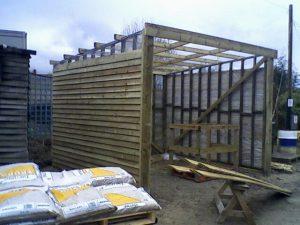 Timber framed shed under constuction in Crestala Fencings yard.