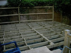 Raised decking support frame under construction