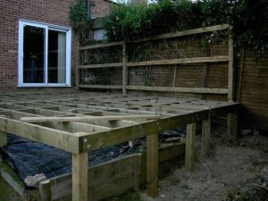 Raised decking support frame bolted to 100 x 100 UC4 treated posts. (All materials supplied by Crestala Fencing)