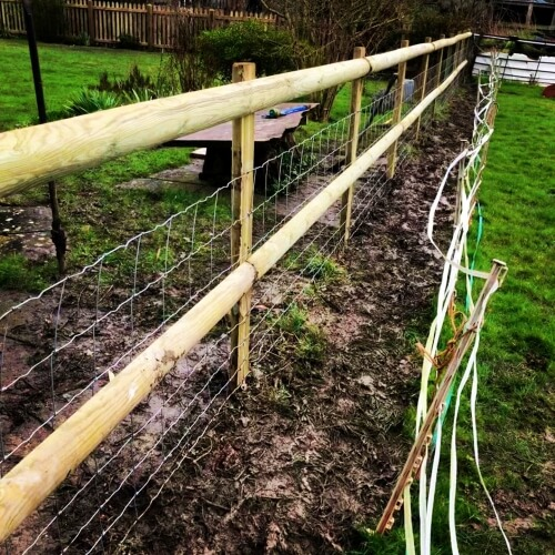 Half-round post and rail fence with stock fence attached